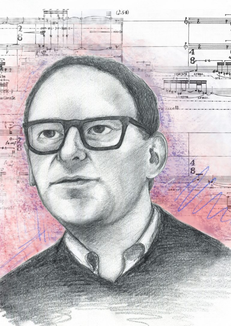 James Weeks. Artwork by May Kindred-Boothby. Extract from the score of Missa Brevis by Brian Ferneyhough © 1969 by Hinrichsen Edition, Peters Edition Limited, London All Rights Reserved. Used by Permission.